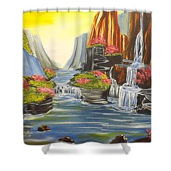 Shower Curtain featuring the painting A River Runs Through It by Darren Robinson