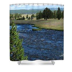 A River Runs Through Yellowstone Shower Curtain by Laurel Powell