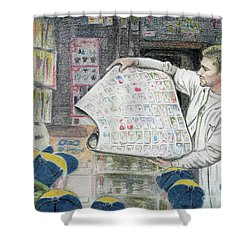 Shower Curtain featuring the drawing A Roll Of Baseball Cards by Yoshiko Mishina