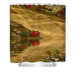 Shower Curtain featuring the mixed media A Rose Bud Stream by Ray Tapajna