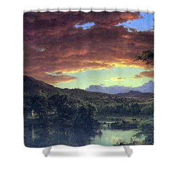 A Rural Home By Frederick Edwin Church Shower Curtain