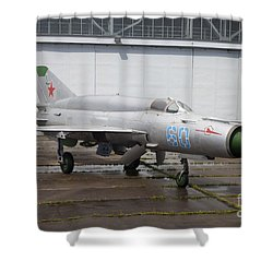 A Russian Mig-21smt Fighter Plane Shower Curtain by Timm Ziegenthaler