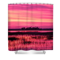 A Saint Helena Island Sunset Shower Curtain by Patricia Greer