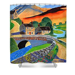 a Scottish highland lane Shower Curtain by Magdalena Frohnsdorff