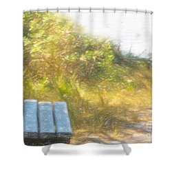 A Seat By The Ocean Shower Curtain