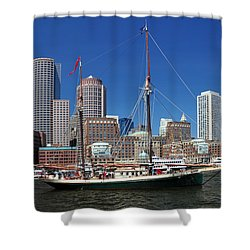 A Ship In Boston Harbor Shower Curtain by Mitchell Grosky
