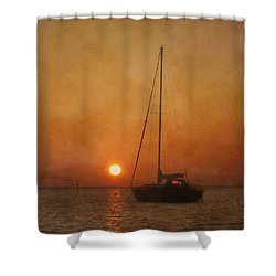 A Ship In The Night Shower Curtain by Kim Hojnacki