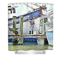 A Shrimper's Work Is Never Done Shower Curtain