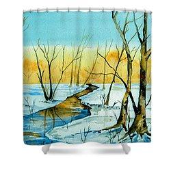 A Sign Of Winter Shower Curtain by Brenda Owen