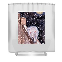 A Silent Journey Shower Curtain by Angela Davies
