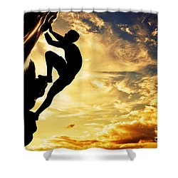 A Silhouette Of Man Free Climbing On Rock Mountain At Sunset Shower Curtain