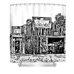 A Simpler Time Line Art Shower Curtain by Steve Harrington