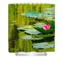 A Single Pink Water Lily From Giverny Shower Curtain
