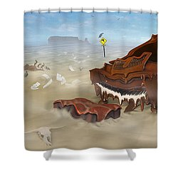 A Slow Death In Piano Valley - Panoramic Shower Curtain by Mike McGlothlen