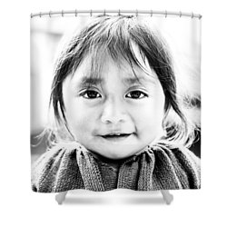 A Small Guatemalam Life - Black And White Shower Curtain by Shelby  Young