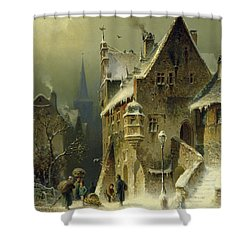 A Small Town In The Rhine Shower Curtain by August Schlieker