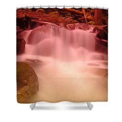 A Small Waterfall Along The Old North Cascade Highway  Shower Curtain by Jeff Swan