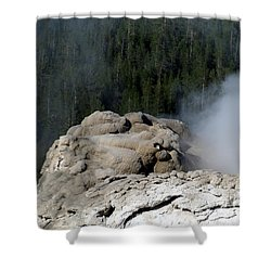 A Smoking Man. Yellowstone Hot Springs Shower Curtain by Ausra Huntington nee Paulauskaite