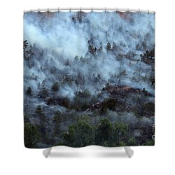 A Smoky Slope On White Draw Fire Shower Curtain