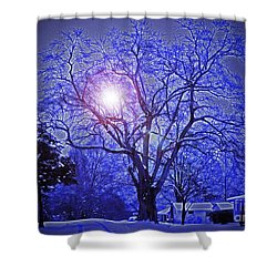 A Snow Glow Evening Shower Curtain