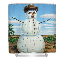 A Snowman In Texas Shower Curtain
