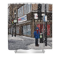 A Snowy Day On Wellington Shower Curtain