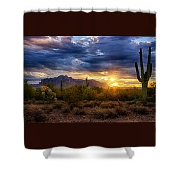 A Sonoran Desert Sunrise Shower Curtain by Saija  Lehtonen