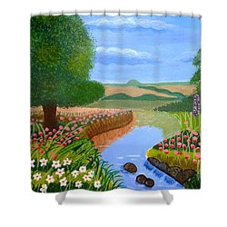 A Spring Stream Shower Curtain