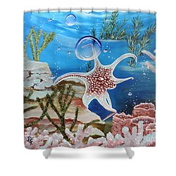 A Squid Named Sid Shower Curtain