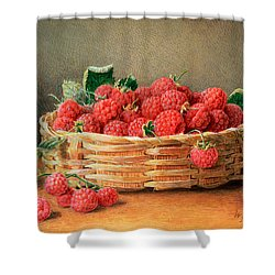 A Still Life Of Raspberries In A Wicker Basket  Shower Curtain