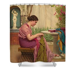 A Stitch Is Free Or A Stitch In Time 1917 Shower Curtain by John William Godward