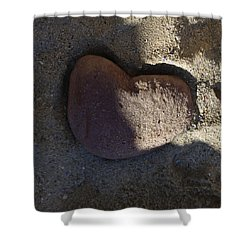 A Stone Heart Shower Curtain by Xueling Zou