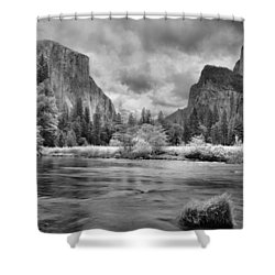 A Storm Draws Near - Black And White Shower Curtain by Lynn Bauer