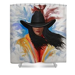 Shower Curtain featuring the painting A Stroke Of Cowgirl by Lance Headlee