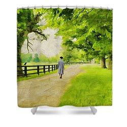 A Stroll Along The Bluegrass Shower Curtain by Darren Fisher
