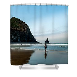 A Stroll At Cannon Beach Oregon Shower Curtain