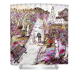 A Stroll In Autumn Shower Curtain
