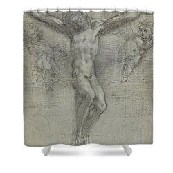 A Study Of Christ On The Cross With Two Shower Curtain by Federico Fiori Barocci or Baroccio