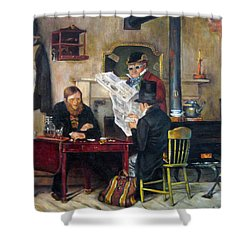 Shower Curtain featuring the painting A Study Of Waiting For The Stage by Donna Tucker