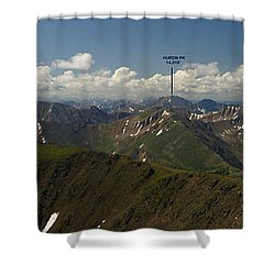 A Summit View Panorama Text Shower Curtain by Jeremy Rhoades