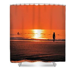 Shower Curtain featuring the photograph A Surfers Sunrise On Wrightsville Beach by Bob Sample