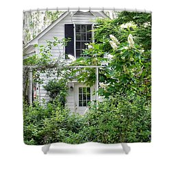 A Swell Side Entrance With Oakleaf Hydrangea Shower Curtain