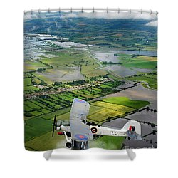 Shower Curtain featuring the photograph A Swordfish Aircraft With The Royal Navy Historic Flight. by Paul Fearn