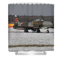 A T-33 Shooting Star Trainer Jet Shower Curtain by Timm Ziegenthaler