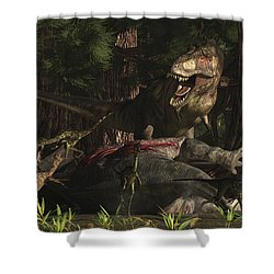 A T-rex Returns To His Kill And Finds Shower Curtain