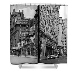 A Tail Of Two Cities - South Broad Then And Now Shower Curtain by Bill Cannon