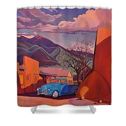 Shower Curtain featuring the painting A Teal Truck In Taos by Art James West