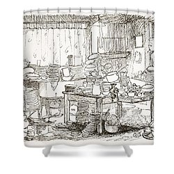 A Tendency To Leave The Washing-up Till Shower Curtain by Pont