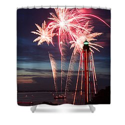A Three Burst Salvo Of Fire For The Fourth Of July Shower Curtain