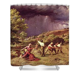 A Thunder Shower, 1859 Shower Curtain by James Thomas Linnell